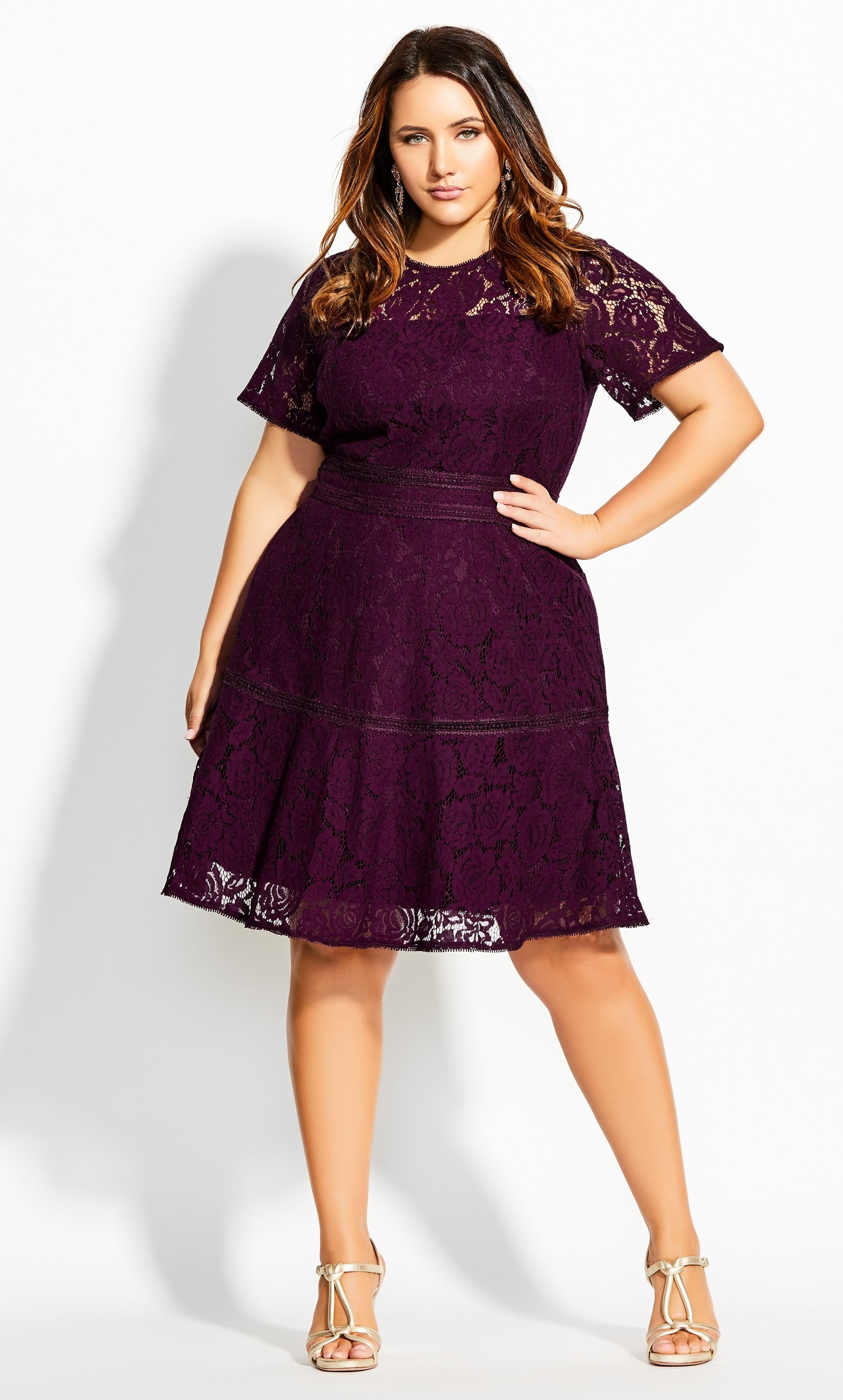 Lace Ravish Dress - mulberry 8