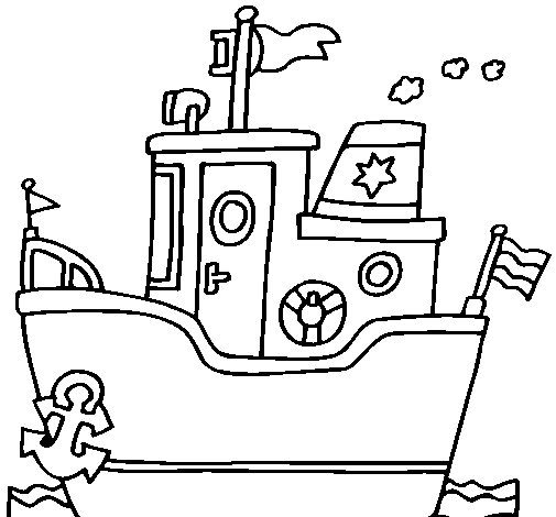 boat with anchor coloringcrew com