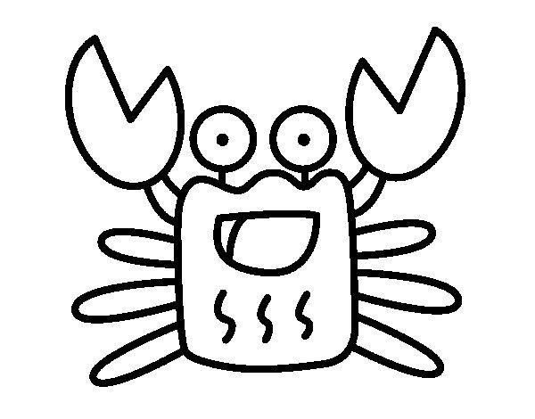 cheerful crab coloring page coloringcrew com