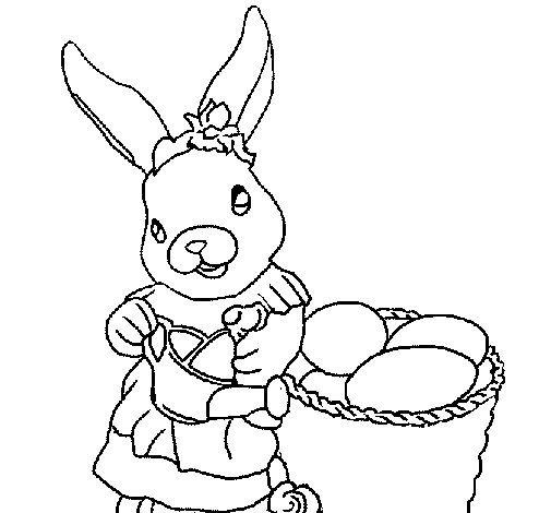 easter bunny with watering can coloring page coloringcrew com