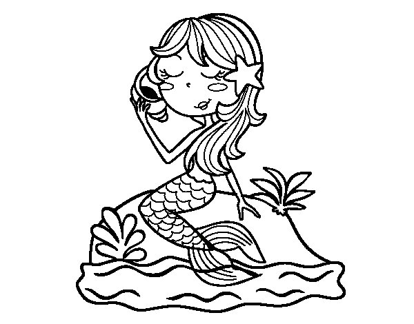 mermaid sitting on a rock with a sea snail coloring page