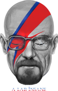 Breaking Bad's Walter White clearly went a little bit nuts with his special lab based hobby, so he makes a good mashup with David Bowie's iconic album cover for Aladdin Sane. Aladdin Sane.. A Lab Insane. Geddit? Geddit!?