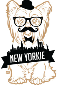 Gold New York Yorkie Shirts. Meet Yorkie. He's a trendy hipster from New York City, ballin' outta control with his stylish glasses, outrageous moustache, slick bow-tie and handsome top hat. Loves night walks in central park, fire hydrants and snuggles in bed. Hates baths, vet check-ups and the evil vacuum cleaner.