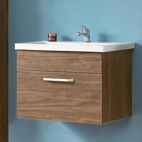 meuble salle de bain 60x38x41cm meuble suspendu couleur oskar chene chataigner