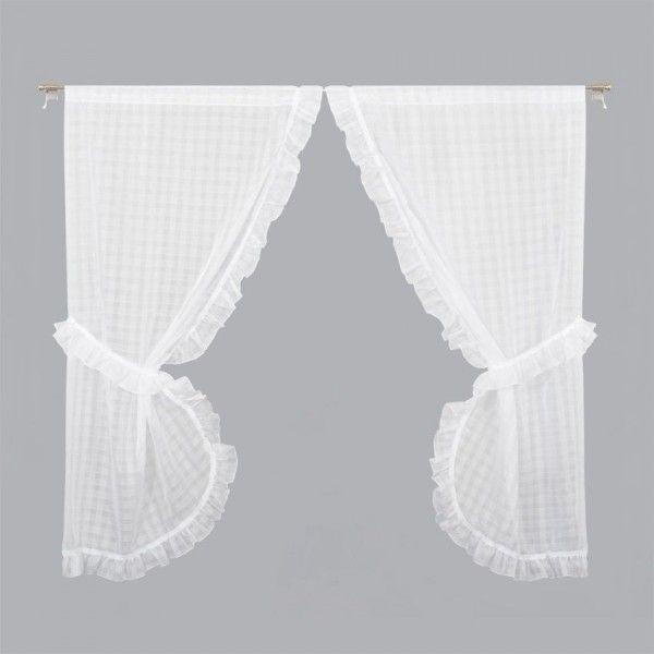 paire de voilages bonne femme 65 x 200 cm hortensia blanc
