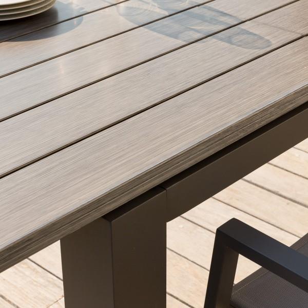table de jardin extensible aluminium heraklion 320 x 100 cm marron tonka