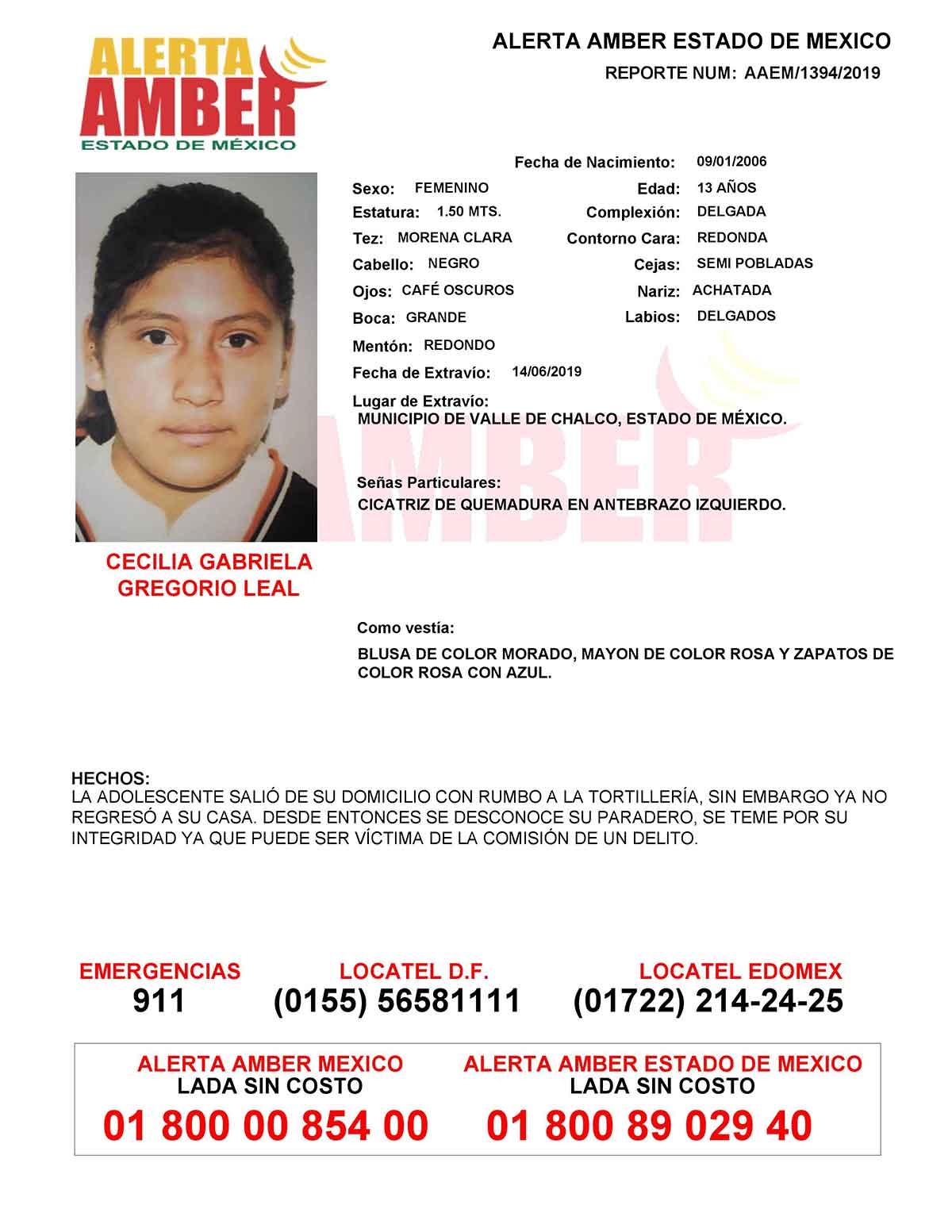 Cecilia Gabriela Gregorio Leal desapareció en el municipio de Valle de Chalco, Estado de México.