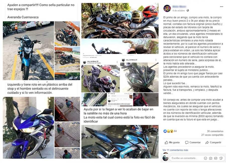 En redes sociales un usuario reportó la venta de un motocicleta a principios de octubre y que tenía características similares a una que fue robada anteriormente. Imagen: Especial