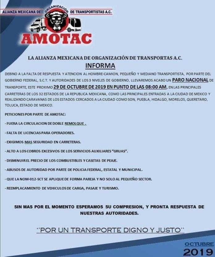 Transportistas bloquearán carreteras y entradas a la CDMX este martes