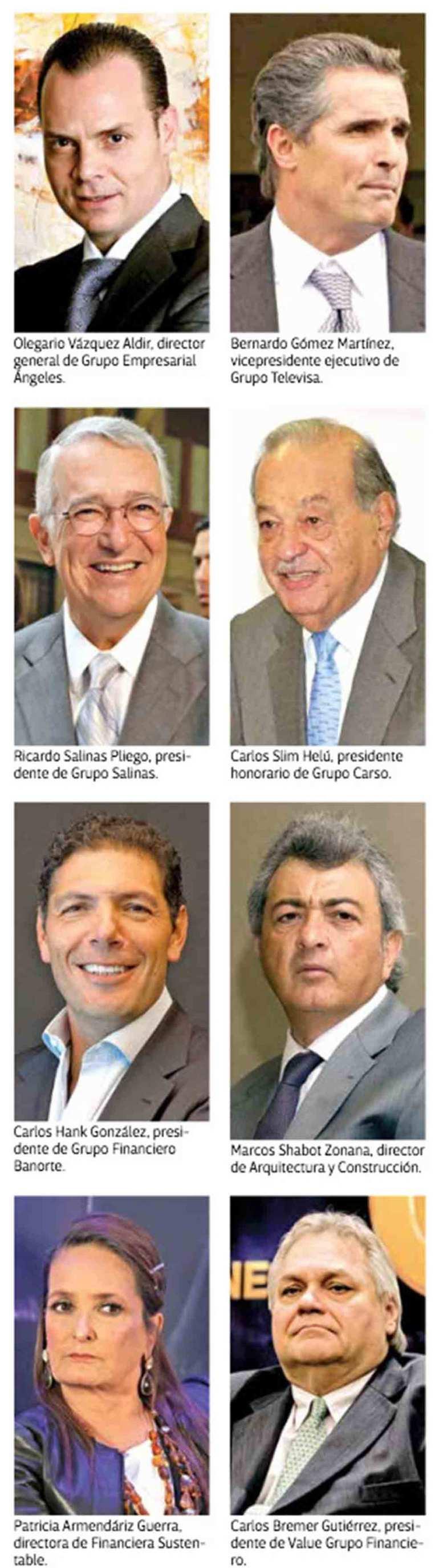 Empresarios que acompañan al Presidente