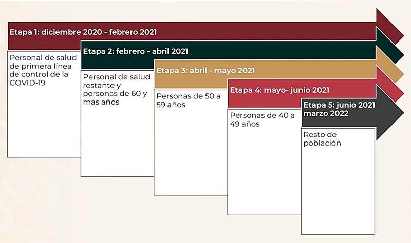 Etapas de vacunación contra Covid-19 en México.