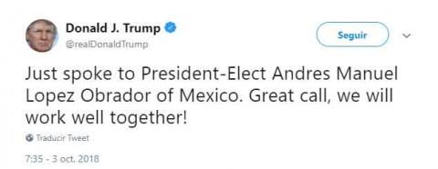 Trabajaré muy bien con López Obrador, dice Donald Trump