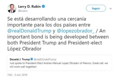 Trabajaré muy bien con López Obrador, dice Trump