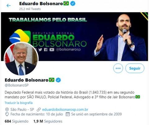 Hijo de Bolsonaro pone foto de Trump en su perfil de Twitter
