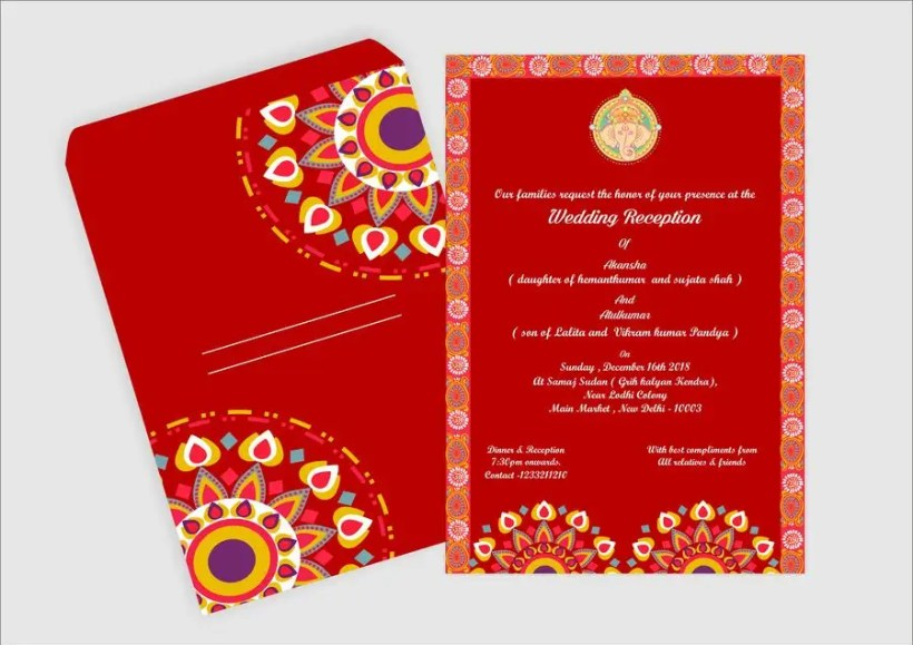 Hindu Wedding Invitation Card Design