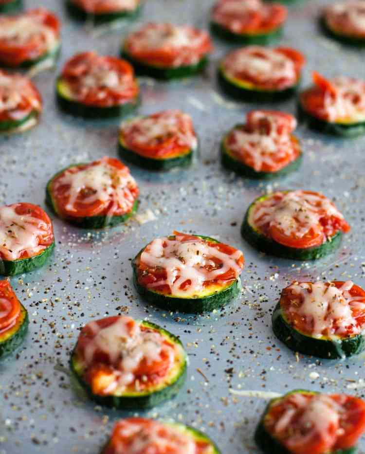 healthy snack ideas for work, homemade snacks list, zucchini pizza bites