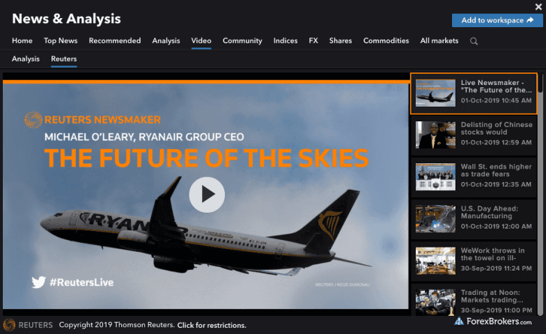 IG streaming video Reuters