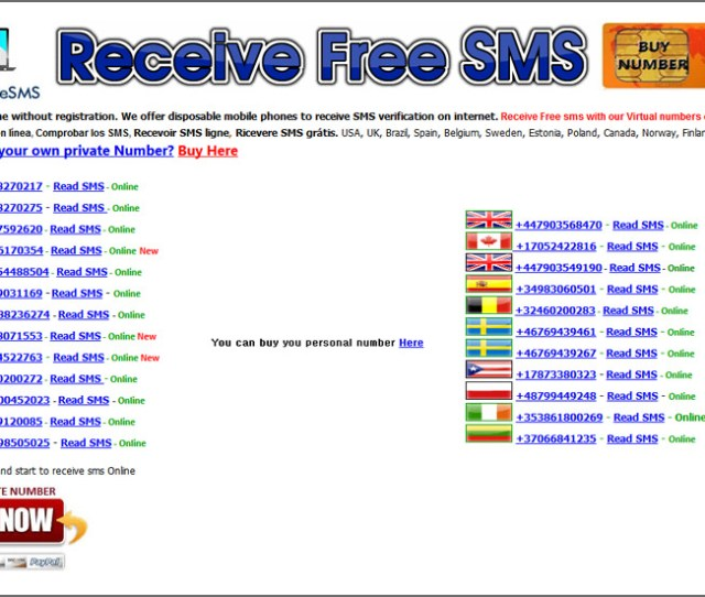 Receive Free Sms Service Online Registration Receivefreesms Free Temporary And Disposable Number