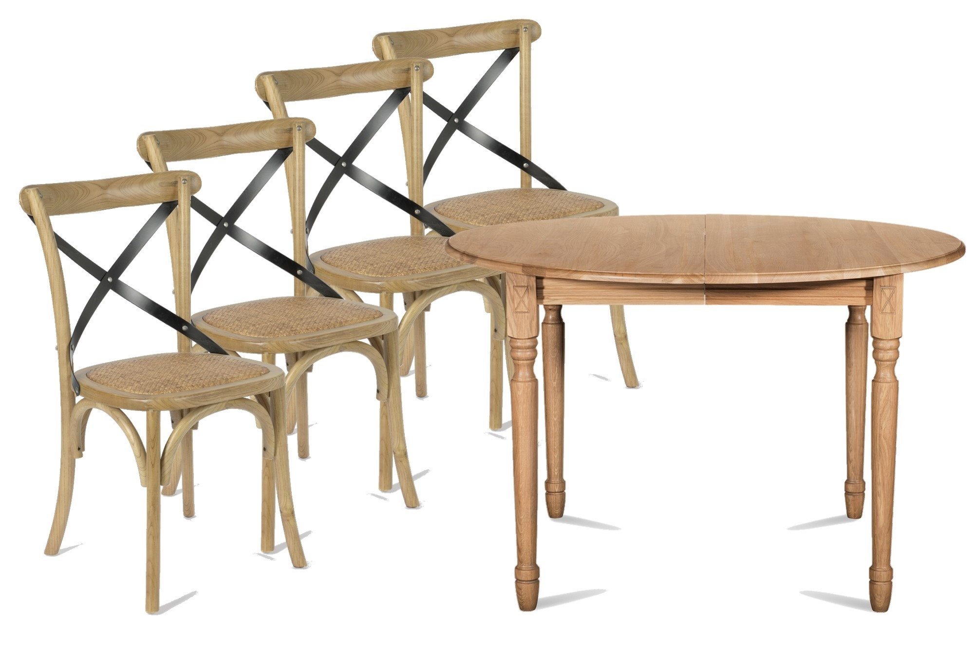 salle a manger table extensible victoria et 4 chaises bistrot hellin