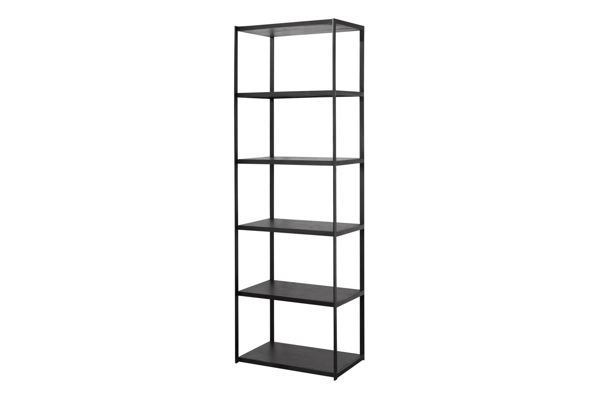 bibliotheque noire bois metal hellin