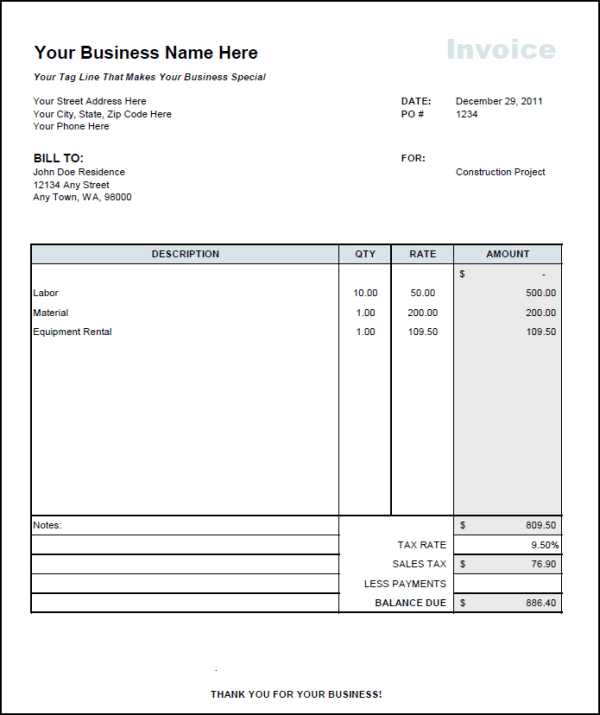 Construction Invoice Example piarclanky – Rent Invoice Sample
