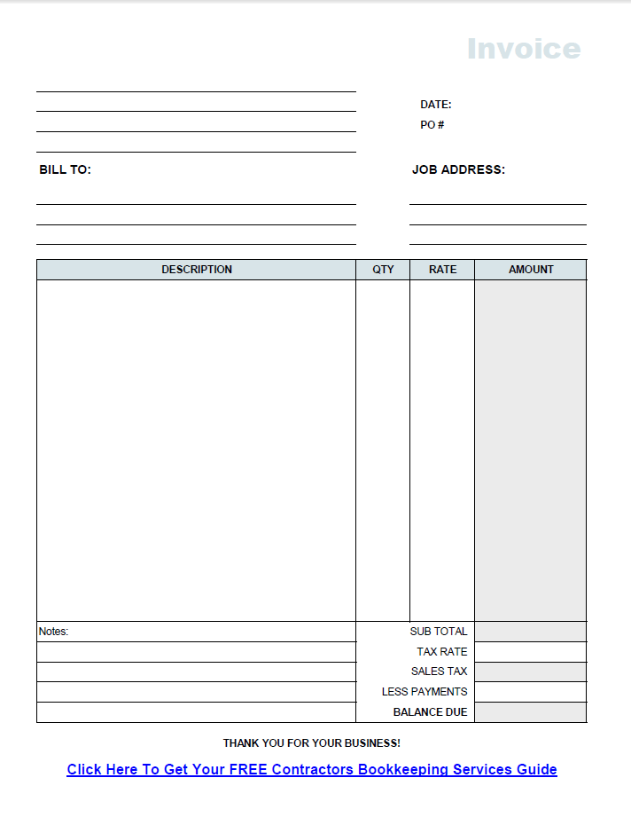 free invoice template on pdf for construction contractors