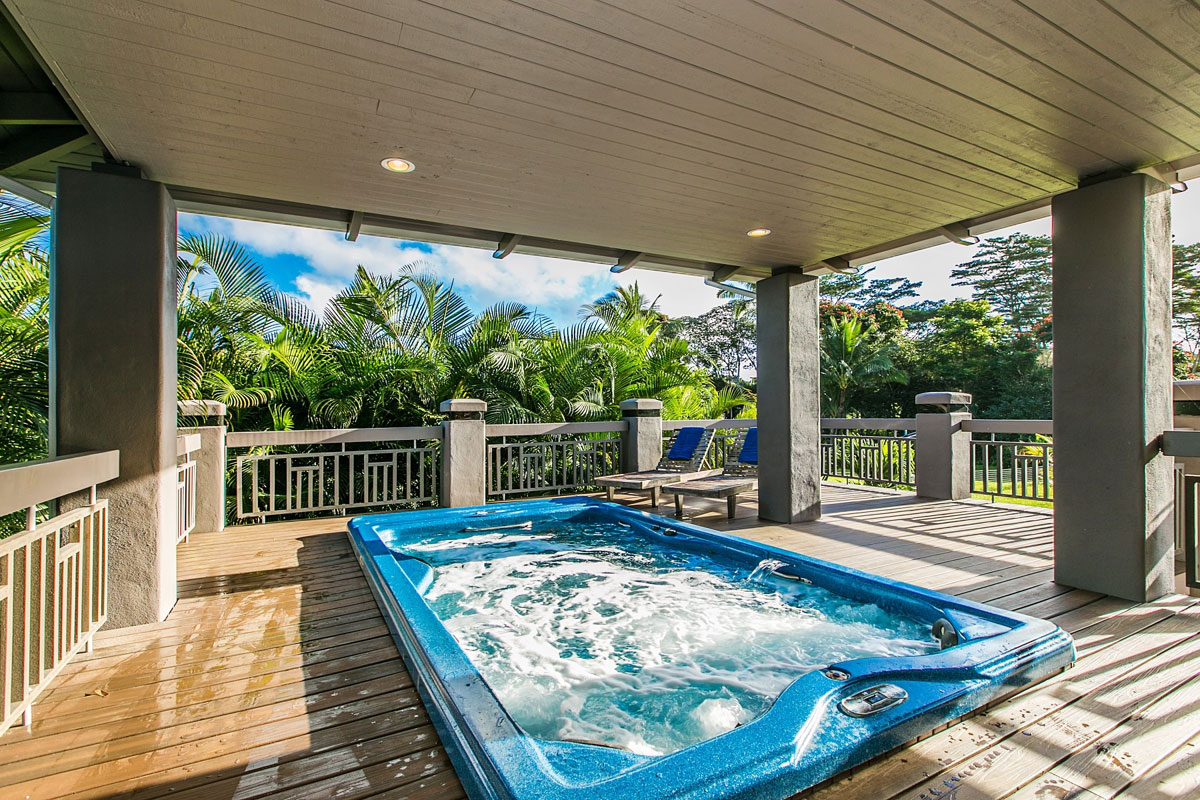 This property in Hawaii has a built-in Michael Phelps swim spa. Michael Phelps Signature Swim Spas by Master Spas were developed with input from 18-time gold medalist Michael Phelps and his coach Bob Bowman for all types of training, swimming, fitness programs and aquatic therapy. It features a unique propeller design that provides a wide, deep and smooth current — giving you a swimming experience that is far superior to any other swim spa. The Michael Phelps Swim Spa is energy efficient and has digital controls allowing you to set the water temperature where it's most comfortable.