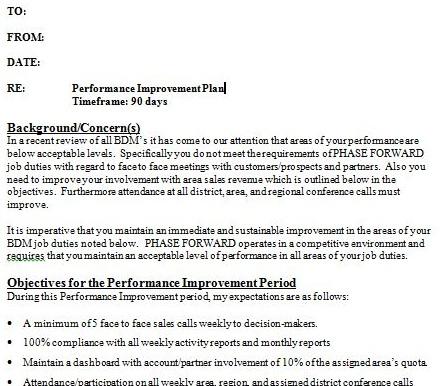 Doc585632 Sales Performance Improvement Plan Example 9 – Employee Performance Improvement Plan Template