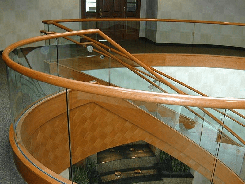 Staircase Bittners Office Building   Wood And Glass Staircase Railing   Before And After   Oak   Beautiful   Traditional U Shaped   Custom