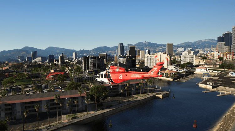 GTA 5 Game screenshot, modding, realistic looking image of the helicopter above a city, NaturalVision Remastered mod