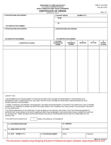 Nafta Template certificate of origin template success 5 – Us Certificate of Origin Form