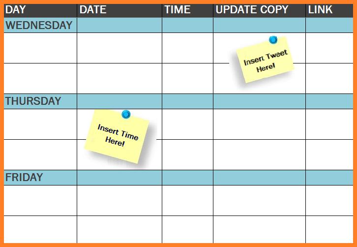 International Free Template Social Media Publishing Schedule