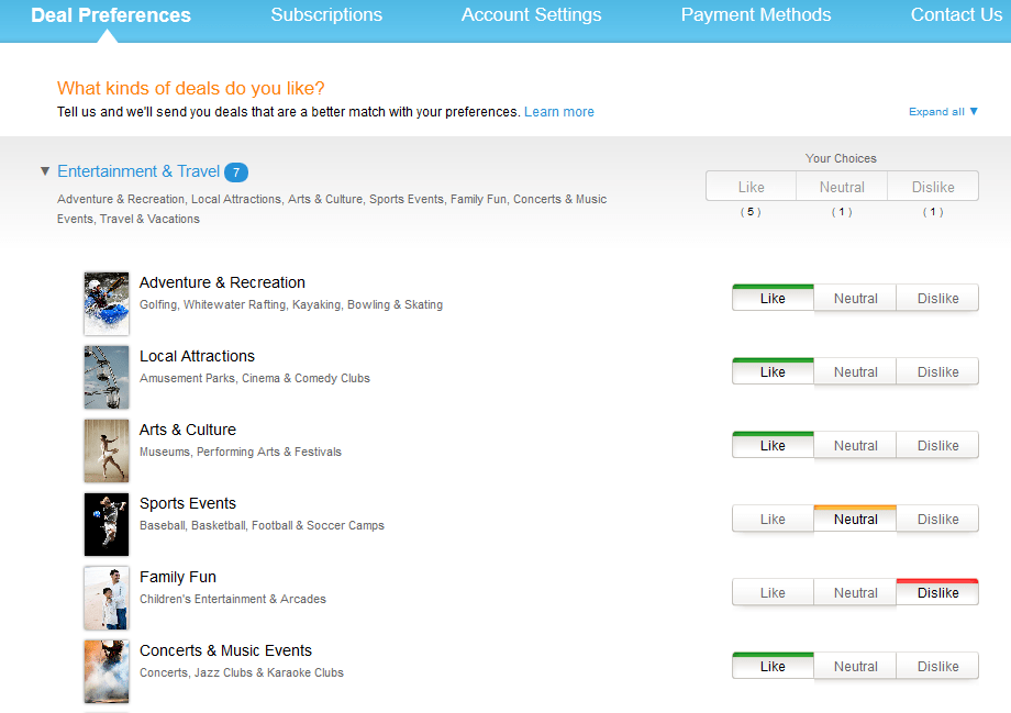 amazon local deal preferences