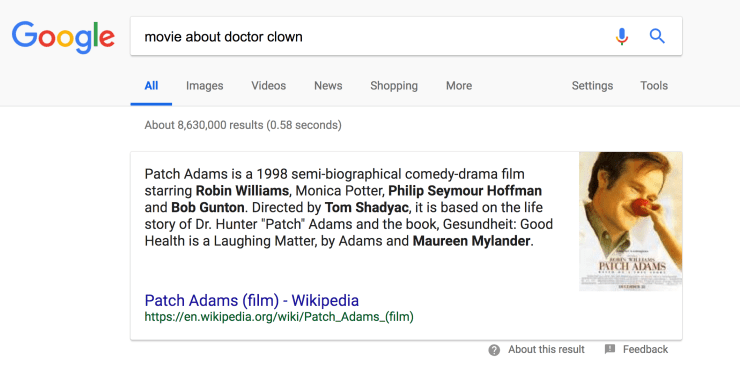 Patch Adams Featured Snippet