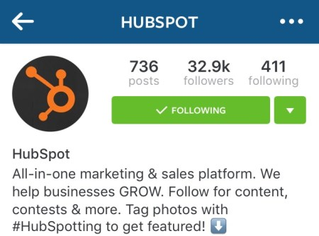 HubSpot's Instagram profile picture and bio