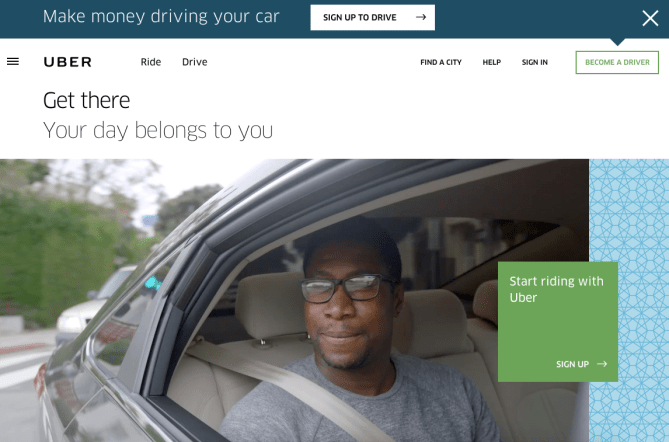 Uber double call to action buttons