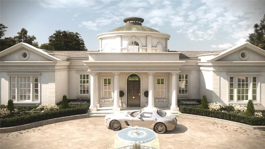 This Neoclassical-style home has a stately library, spa, pool, and sauna, offering the ideal mix of activities and total relaxation in a stylish interior.