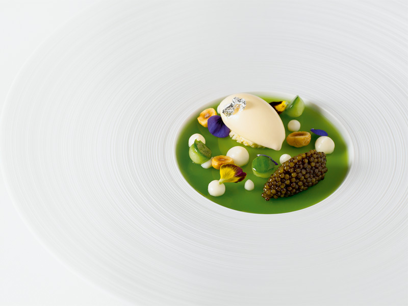 Cauliflower ice-cream served with cucumber jelly, Oscietra caviar, and hazelnuts: one of chef Hélène Darroze's artful creations.