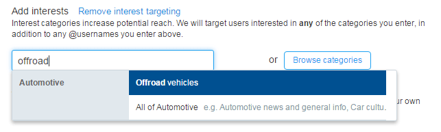 Twitter Advertising for Dealerships with Interest Targeting