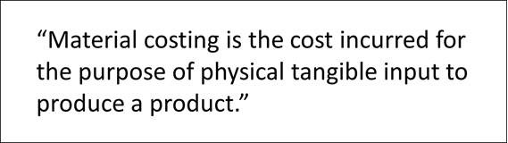 Definition of Material costing