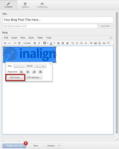 in hubspot, press edit image to change the alt tag