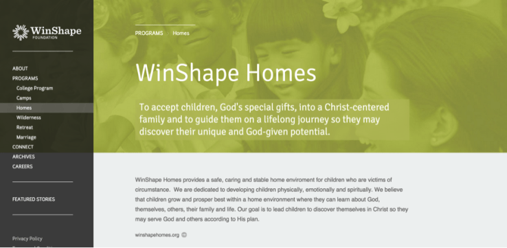 WinShape website using consistent page designs to improve the user experience