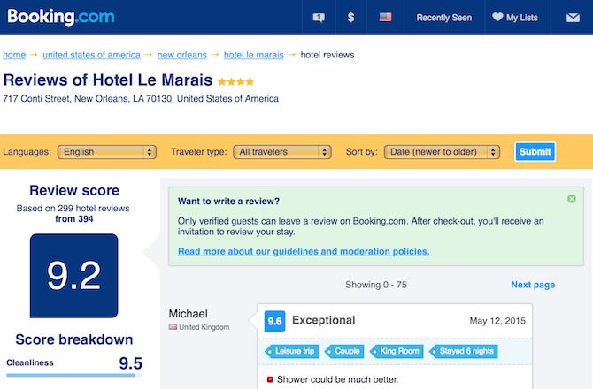 booking.com social proof example