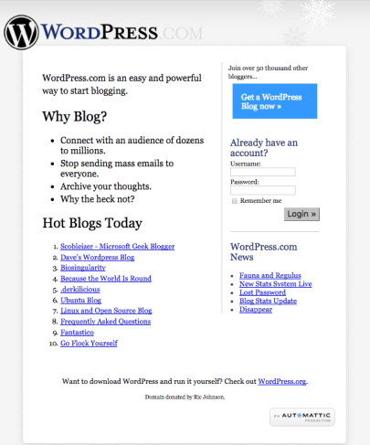 WordPress circa 2005