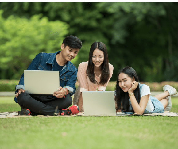 Students on lawns looking at laptops