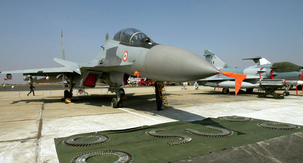 A Russian made Indian Air Force Sukhoi-30 fighter aircraft is seen on display at 'Aero India 2007' at Yelahanka air base on the outskirts of Bangalore, India. File photo