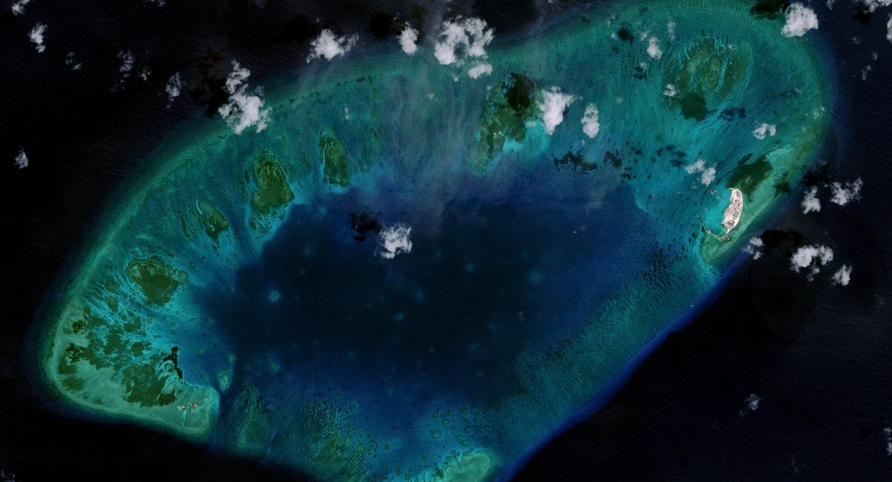West London Reef is pictured in the South China Sea in 2015, in this handout photo provided by CSIS Asia Maritime Transparency Initiative/DigitalGlobe