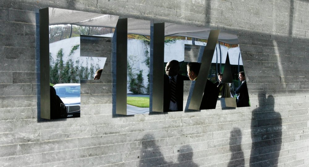 The FIFA logo at the headquarters Zurich, Switzerland
