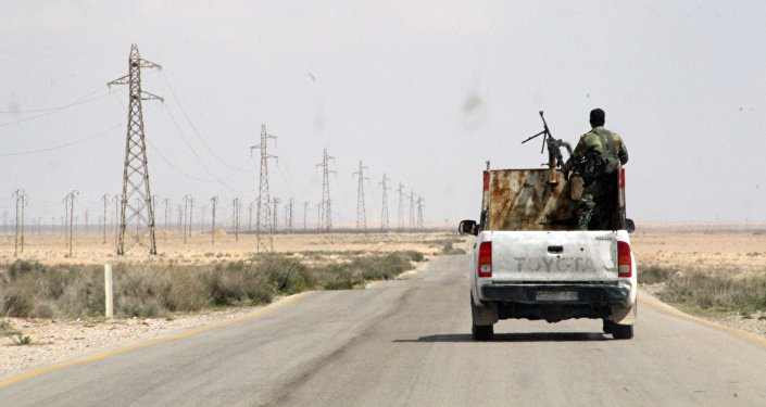 Syrian troops on the from Homs to Raqqa, Syria