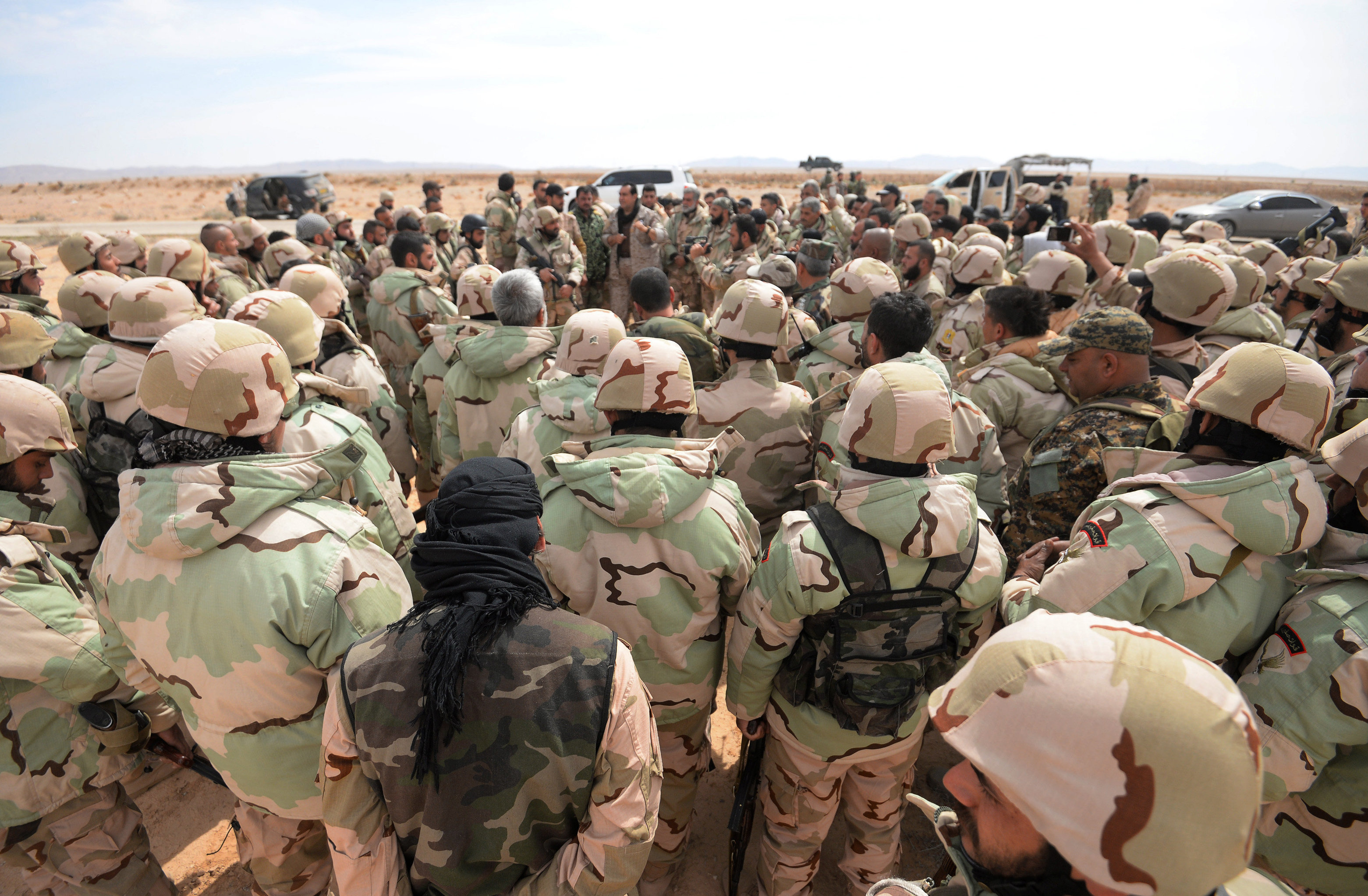 Fighters of the Desert Falcons self-defense unit during re-stationing of troops near the Syrian city of Palmyra.